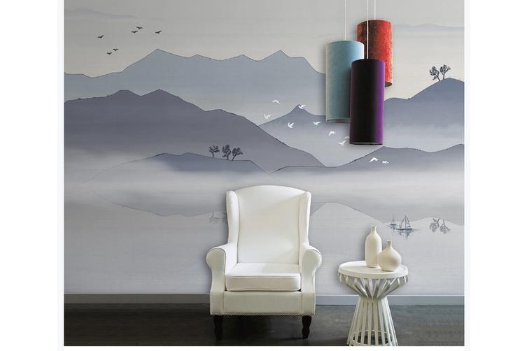 3D chinese ink landscape wall mural Wallpaper 112 Premium Non-Woven Paper-W: 525cm X H: 295cm
