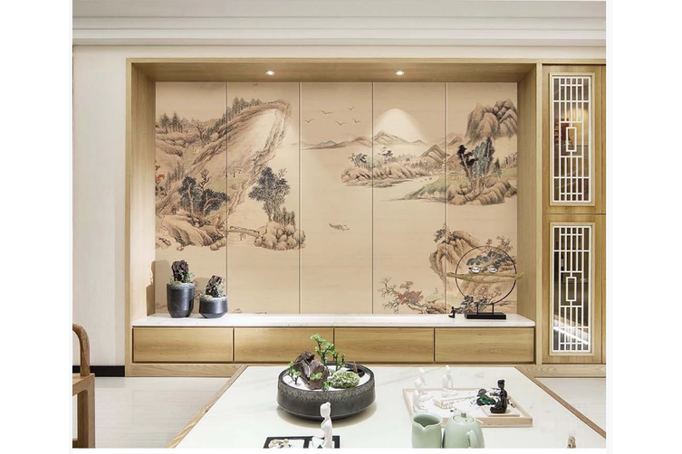 3D chinese ink landscape wall mural Wallpaper 108 Premium Non-Woven Paper-W: 320cm X H: 225cm