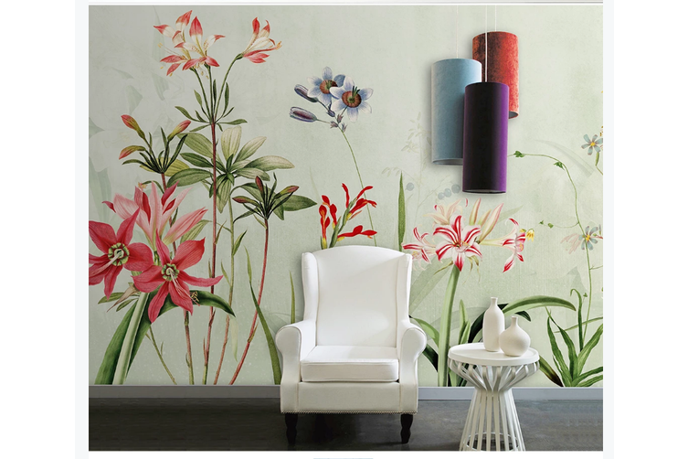 3D hand painting red floral wall mural Wallpaper 106 Premium Non-Woven Paper-W: 320cm X H: 225cm
