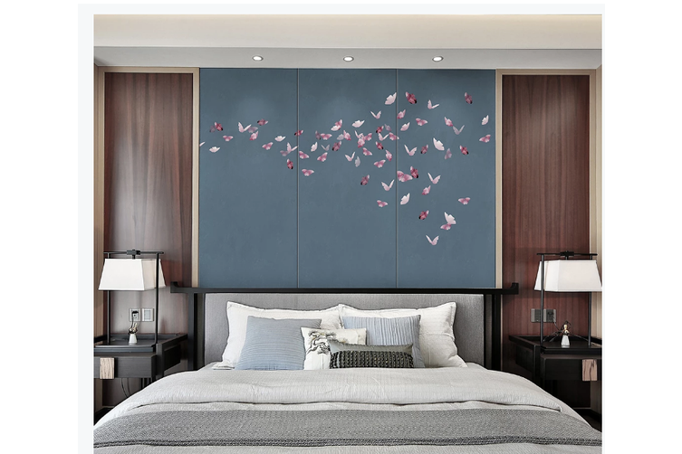 3D pink butterfly grey background wall mural Wallpaper 105 Premium Non-Woven Paper-W: 525cm X H: 295cm