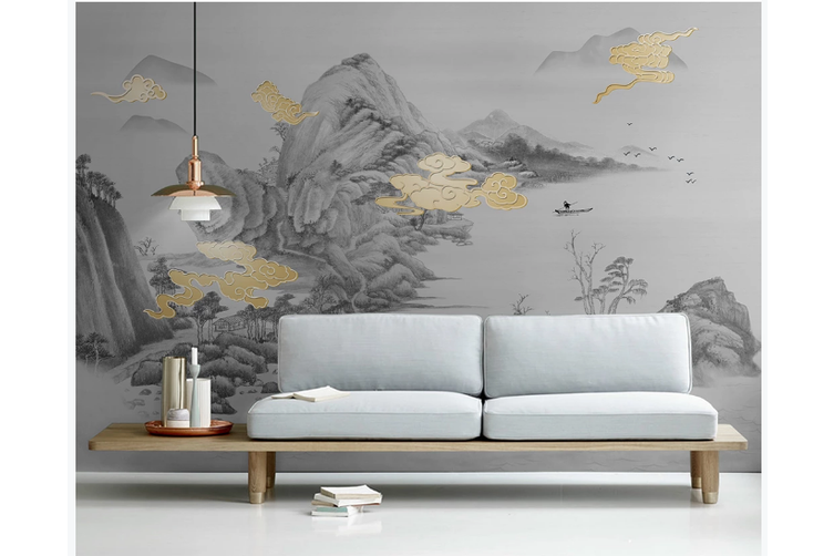 3D chinese ink clouds wall mural Wallpaper 103 Premium Non-Woven Paper-W: 210cm X H: 146cm