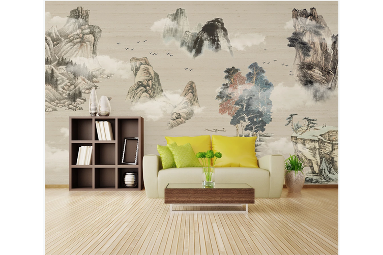 3D chinese ink landscape wall mural Wallpaper 102 Premium Non-Woven Paper-W: 525cm X H: 295cm