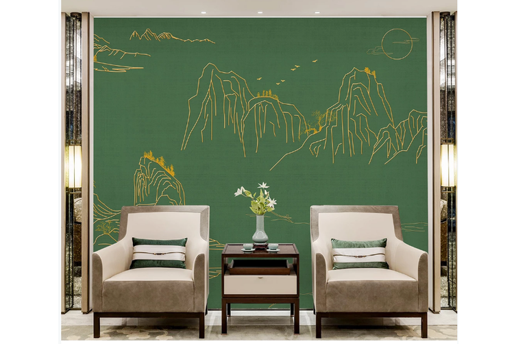 3D line drawing chinese landscape wall mural Wallpaper 99 Premium Non-Woven Paper-W: 420cm X H: 260cm