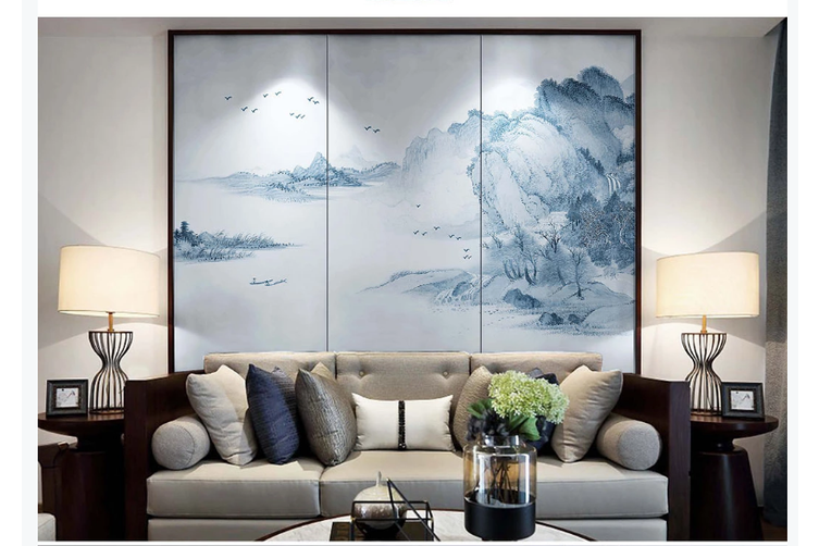 3D hand painting ink mountain wall mural Wallpaper 93 Premium Non-Woven Paper-W: 420cm X H: 260cm