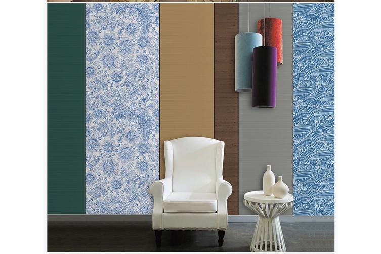 3D blue floral sea waves pattern wall mural Wallpaper 92 Premium Non-Woven Paper-W: 210cm X H: 146cm