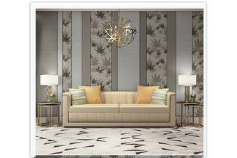 3D grey maple leaves painting wall mural Wallpaper 91 Premium Non-Woven Paper-W: 420cm X H: 260cm