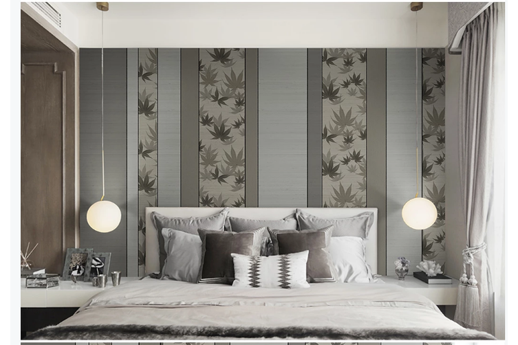 3D grey maple leaves painting wall mural Wallpaper 91 Premium Non-Woven Paper-W: 525cm X H: 295cm