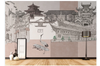 3D hand painting retro chinese building wall mural Wallpaper 89 Premium Non-Woven Paper-W: 420cm X H: 260cm