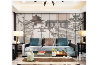 3D hand painting retro chinese building wall mural Wallpaper 89 Premium Non-Woven Paper-W: 525cm X H: 295cm