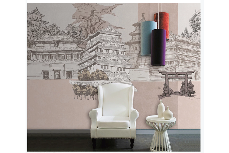 3D hand painting retro chinese building wall mural Wallpaper 88 Premium Non-Woven Paper-W: 210cm X H: 146cm