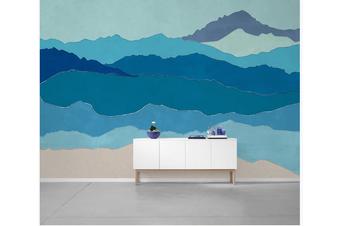 3D abstract blue mountain wall mural Wallpaper 87 Premium Non-Woven Paper-W: 210cm X H: 146cm