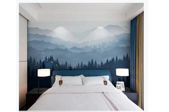 3D blue ink mountain wall mural Wallpaper 85 Premium Non-Woven Paper-W: 210cm X H: 146cm