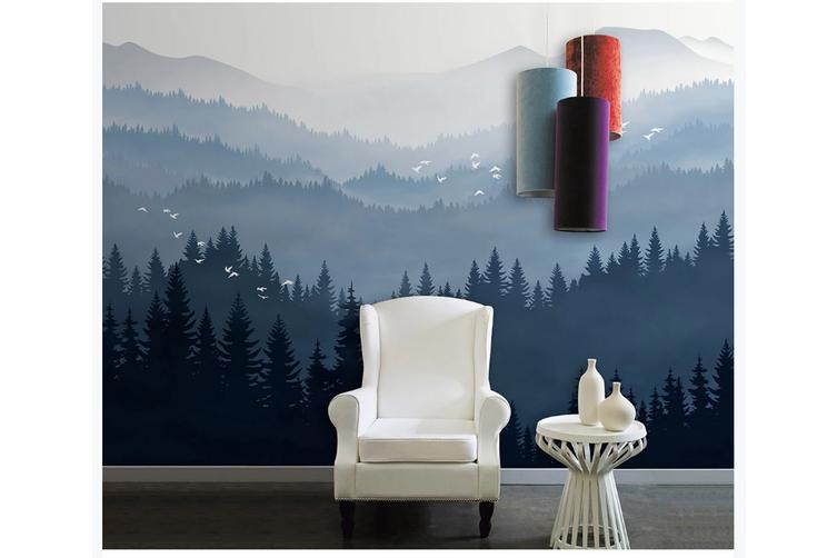 3D blue ink mountain wall mural Wallpaper 85 Premium Non-Woven Paper-W: 525cm X H: 295cm