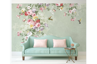 3D retro pink floral wall mural Wallpaper 83 Premium Non-Woven Paper-W: 210cm X H: 146cm