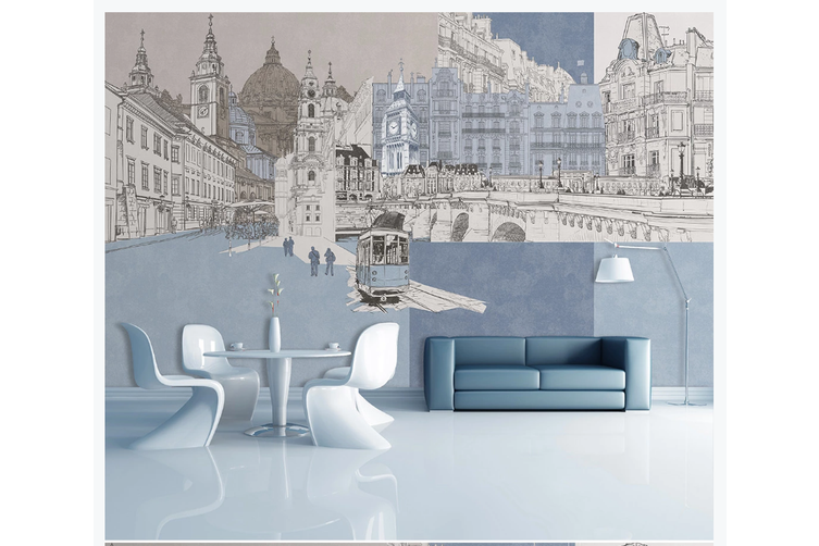 3D hand painting city building wall mural Wallpaper 82 Premium Non-Woven Paper-W: 210cm X H: 146cm