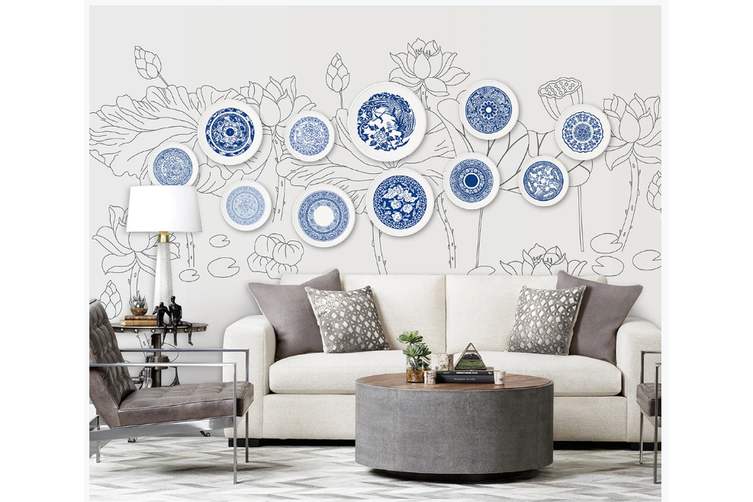 3D hand painting blue lotus wall mural Wallpaper 84 Premium Non-Woven Paper-W: 320cm X H: 225cm
