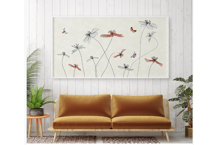 3D hand painting butterfly floral wall mural Wallpaper 81 Premium Non-Woven Paper-W: 210cm X H: 146cm