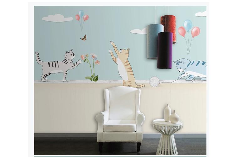 3D cartoon cats balloon wall mural Wallpaper 79 Premium Non-Woven Paper-W: 210cm X H: 146cm