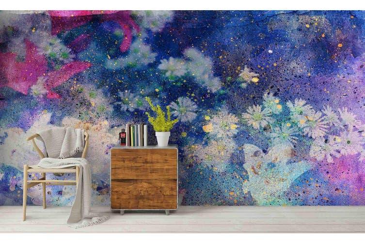3D Watercolor Purple Floral Wall Mural Wallpaper 234 Premium Non-Woven Paper-W: 210cm X H: 146cm