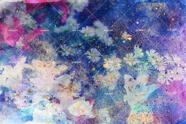 3D Watercolor Purple Floral Wall Mural Wallpaper 234 Premium Non-Woven Paper-W: 525cm X H: 295cm