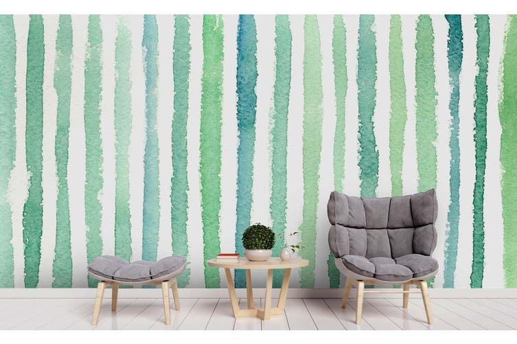3D Watercolor Green Vertical Bar Wall Mural Wallpaper 231 Premium Non-Woven Paper-W: 210cm X H: 146cm