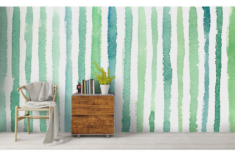 3D Watercolor Green Vertical Bar Wall Mural Wallpaper 231 Premium Non-Woven Paper-W: 320cm X H: 225cm