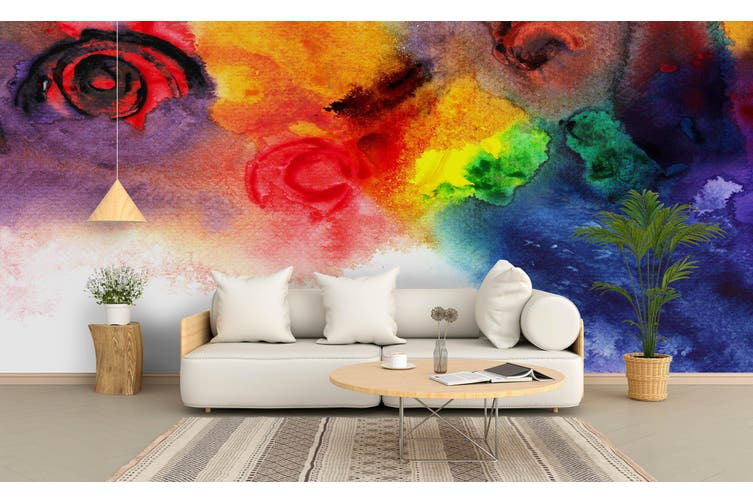 3D Watercolor Color Rose Wall Mural Wallpaper 228 Premium Non-Woven Paper-W: 525cm X H: 295cm