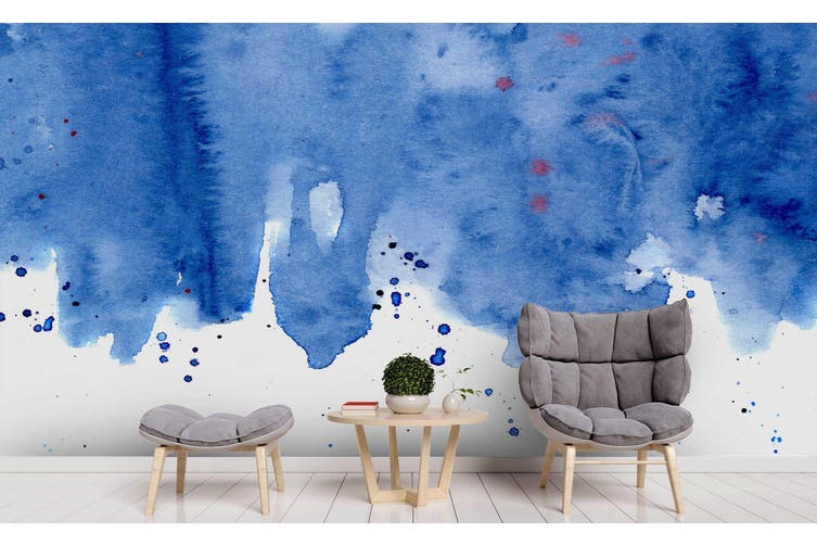 3D Watercolor Blue Pattern Wall Mural Wallpaper 222 Premium Non-Woven Paper-W: 320cm X H: 225cm