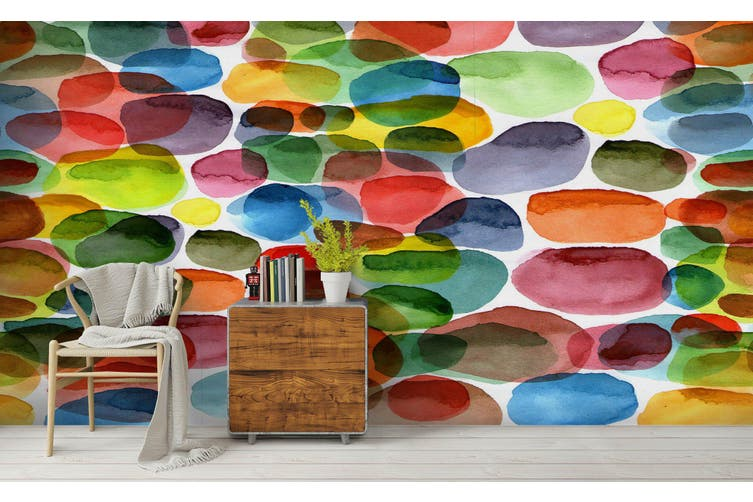 3D Watercolor Color Ellipse Wall Mural Wallpaper 221 Premium Non-Woven Paper-W: 320cm X H: 225cm