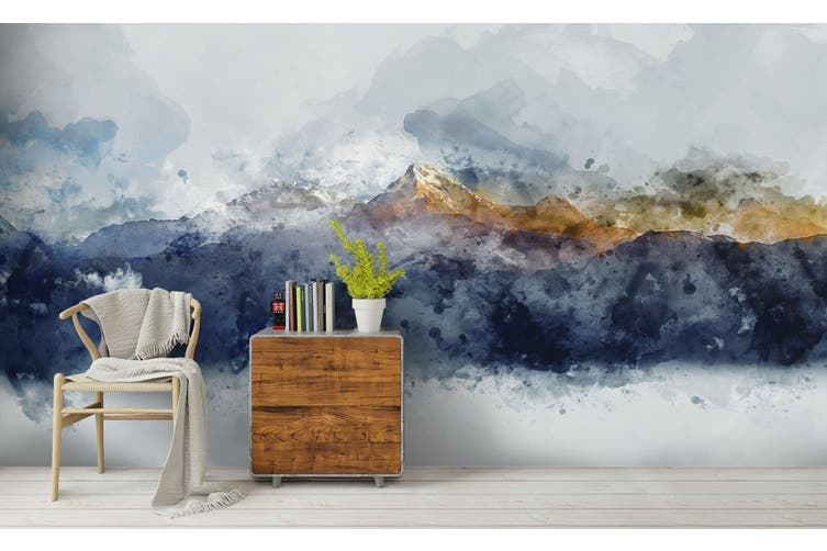 3D Watercolor Mountains Wall Mural Wallpaper 220 Premium Non-Woven Paper-W: 420cm X H: 260cm