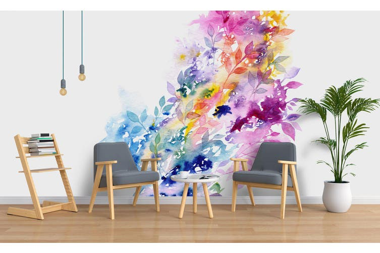 3D Watercolor Floral Wall Mural Wallpaper 215 Premium Non-Woven Paper-W: 210cm X H: 146cm