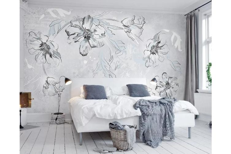 3d Grey Floral Wall Mural Wallpaper 442 Premium Non Woven Paper W 210cm X H 146cm Kogan Com