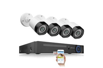 Security Surveillance System, 4CH 5 in1 DVR Kit, 4 CCTV AHD High Definition Bullet Cameras, 4 Channel DVR System, HDMI, View Camera Video Live Footage via the App