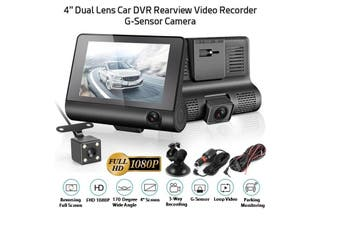"3 Camera 4"" Dashcam including Reversing Camera, Front Indoor & Rear Lens, FHD 1080P, Night Vision Dash Cam, Dashboard Camera G-Sensor"