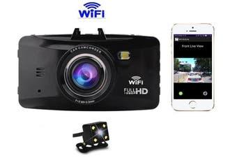 Wi-Fi Dashboard Camera, Dashcam, Front & Rear Cameras, Dash Cam, High Definition, 1080P Dash Board, Wifi Smartphone Video