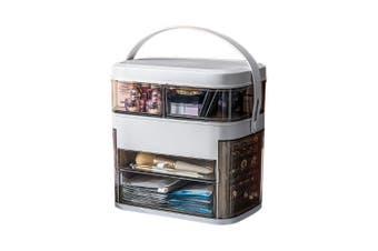 LED HD Mirror Makeup Storage Box Cosmetic Organizer Make Up Storage Case (White)