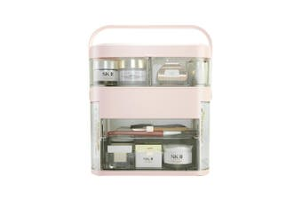 LED HD Mirror Makeup Storage Box Cosmetic Organizer Make Up Storage Case (Champagne)