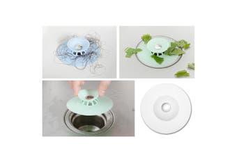 3x Silicone Bath Sink Strainer Waste Plug Floor Drain Filter Hair Catcher Stopper (White)