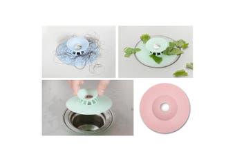 3x Silicone Bath Sink Strainer Waste Plug Floor Drain Filter Hair Catcher Stopper (Pink)
