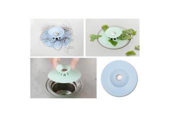 3x Silicone Bath Sink Strainer Waste Plug Floor Drain Filter Hair Catcher Stopper (Blue)