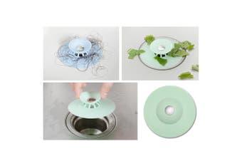 3x Silicone Bath Sink Strainer Waste Plug Floor Drain Filter Hair Catcher Stopper (Green)