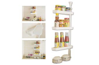 Rotational Kitchen Spice Jars Rack Stainless Seasoning Shelf Organiser Stand