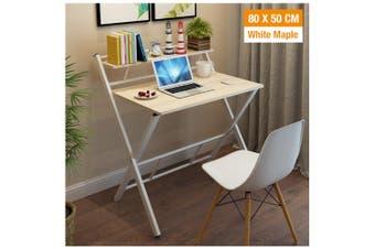 Office Computer Desk Wooden Home Furniture Folding Side Table Storage Shelf Rack (White Maple)