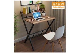 Office Computer Desk Wooden Home Furniture Folding Side Table Storage Shelf Rack (Walnut Wood)