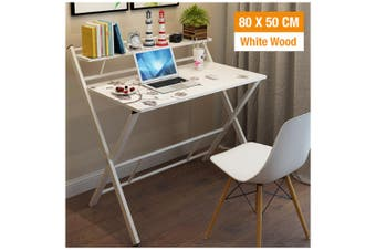 Office Computer Desk Wooden Home Furniture Folding Side Table Storage Shelf Rack (White Wood)