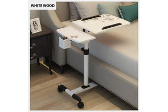 Mobile Rolling Laptop Desk Computer Table Stand Free Height Bedside Portable (White)