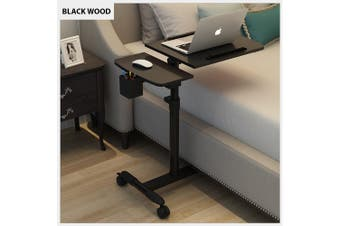 Mobile Rolling Laptop Desk Computer Table Stand Free Height Bedside Portable (Black)