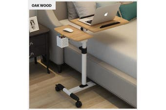 Mobile Rolling Laptop Desk Computer Table Stand Free Height Bedside Portable (Oak Wood)