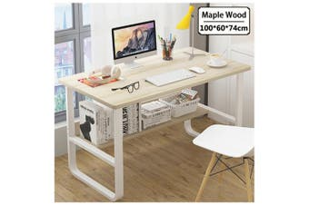 Office Table Thick Wood & Metal Home Study Computer Desktop Desk White (Maple)