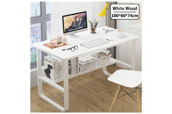 Office Table Thick Wood & Metal Home Study Computer Desktop Desk White (White)